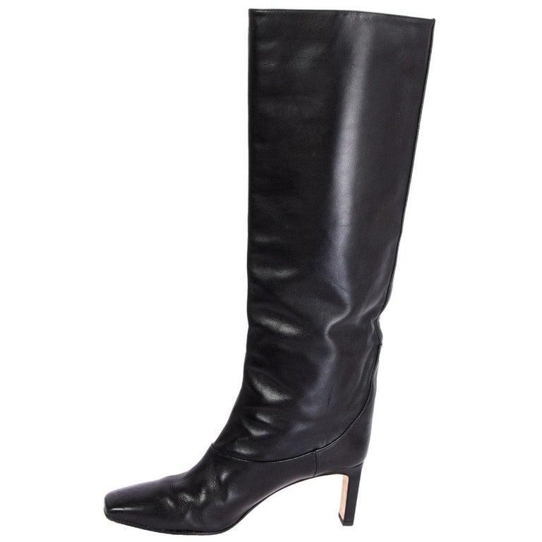Black JIMMY CHOO black leather MAHESA Boots Shoes 38