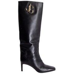 JIMMY CHOO black leather MAHESA Boots Shoes 38