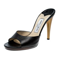 Jimmy Choo Black Leather Peep Toe Slides Size 38