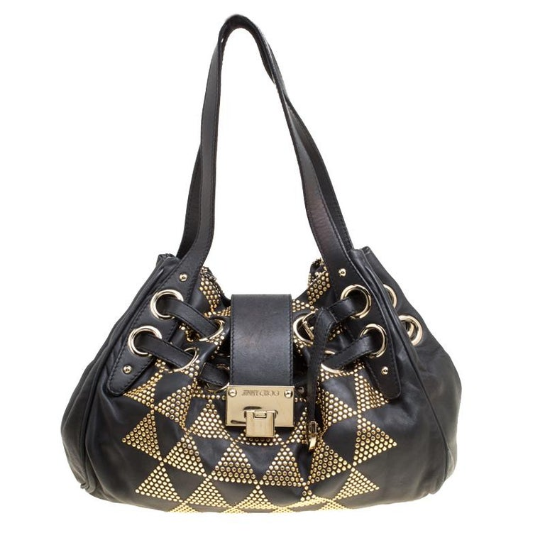 44deb375ea5d Jimmy Choo Black Leather Pyramid Studded Ramona Shoulder Bag For Sale at  1stdibs
