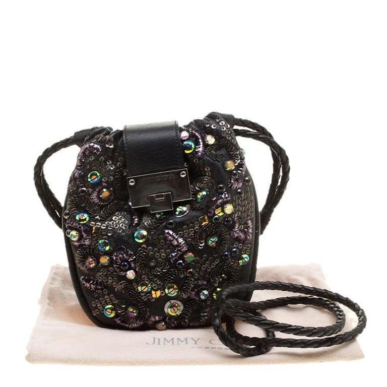 Jimmy Choo Black Leather Sequin Embellished Crossbody Bag For Sale 6