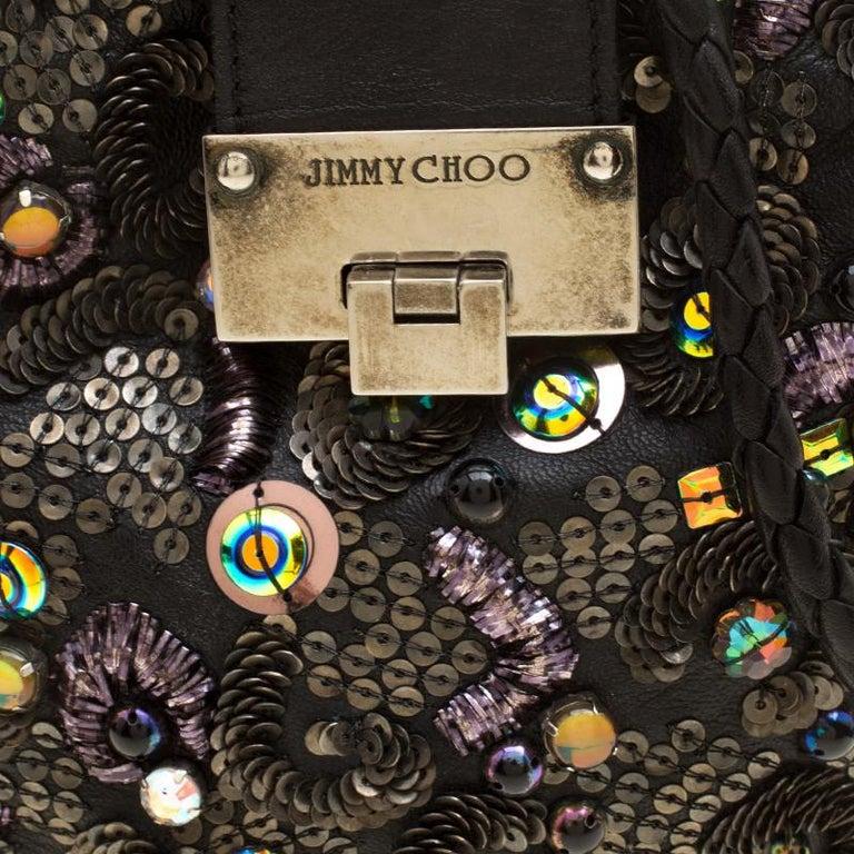 Jimmy Choo Black Leather Sequin Embellished Crossbody Bag For Sale 1