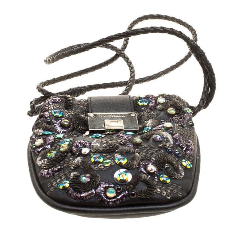 Jimmy Choo Black Leather Sequin Embellished Crossbody Bag For Sale 2