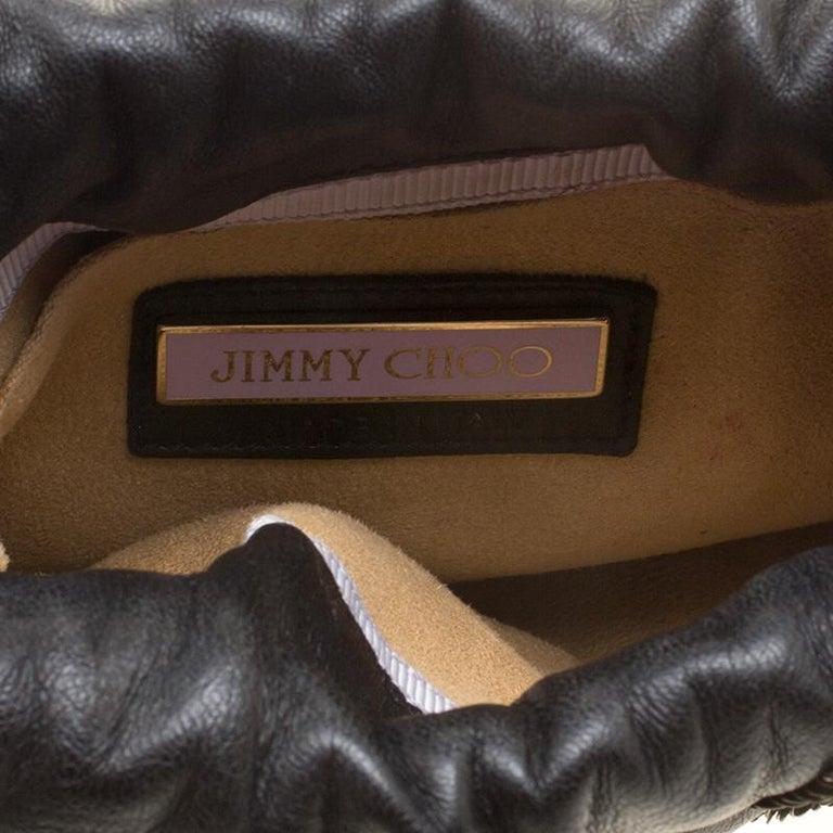 Jimmy Choo Black Leather Sequin Embellished Crossbody Bag For Sale 3