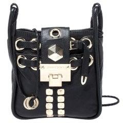 Jimmy Choo Black Leather Studded Crossbody Bag