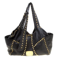 Jimmy Choo Black Leather Studded Tote