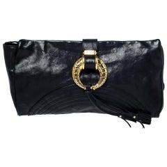 Jimmy Choo Black Leather Tassel Clutch