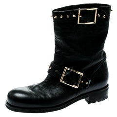 Jimmy Choo Black Leather Youth Buckle Studded Ankle Boots Size 36.5