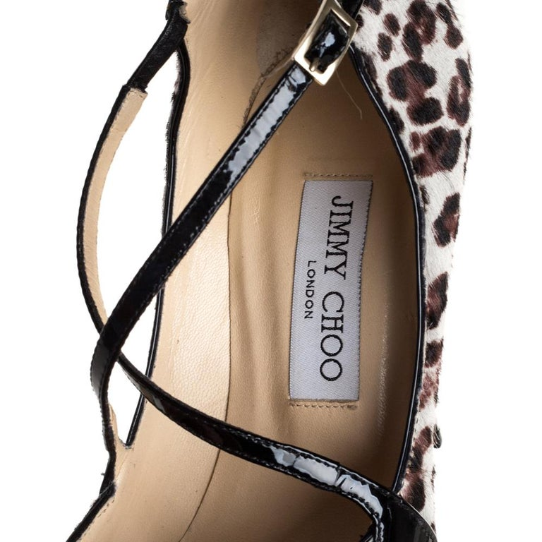 Jimmy Choo Black Patent Leather And Pony Hair Cross Strap Pumps Size 37 For Sale 2