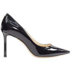 JIMMY CHOO black patent leather classic slim heel pointed toe pigalle pump EU36