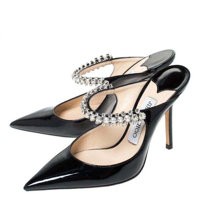 Jimmy Choo Black Patent Leather Crystal Embellished Bing Mule Sandals Size 35.5 For Sale 1