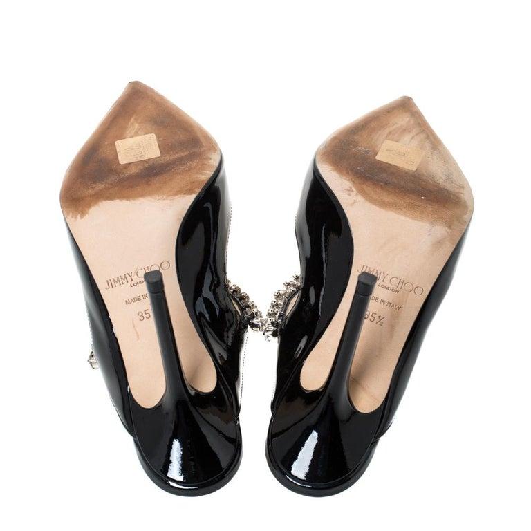 Jimmy Choo Black Patent Leather Crystal Embellished Bing Mule Sandals Size 35.5 For Sale 3