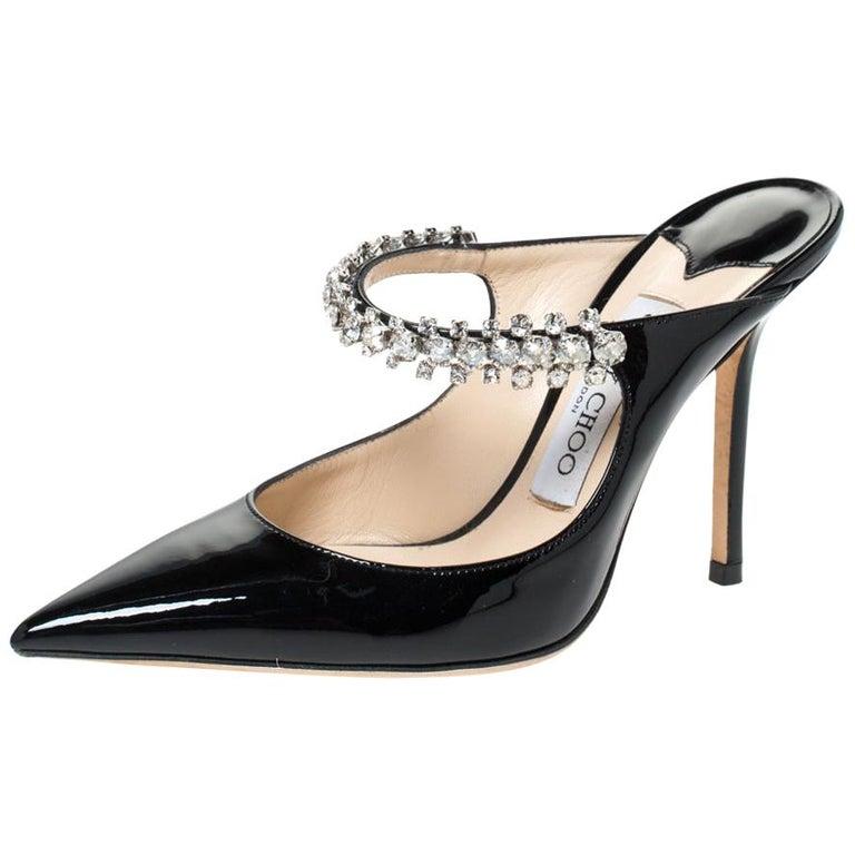 Jimmy Choo Black Patent Leather Crystal Embellished Bing Mule Sandals Size 35.5 For Sale