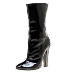 Jimmy Choo Black Patent Leather Mid Calf Boots Size 38