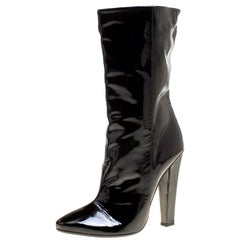 Jimmy Choo Black Patent Leather Mid Calf Boots Size 40