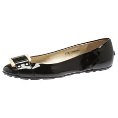 Jimmy Choo Black Patent Leather Morse Ballet Flats Size 36.5