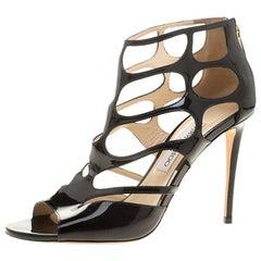 Jimmy Choo Black Patent Leather Ren Cut Out Peep Toe Sandals Size 40