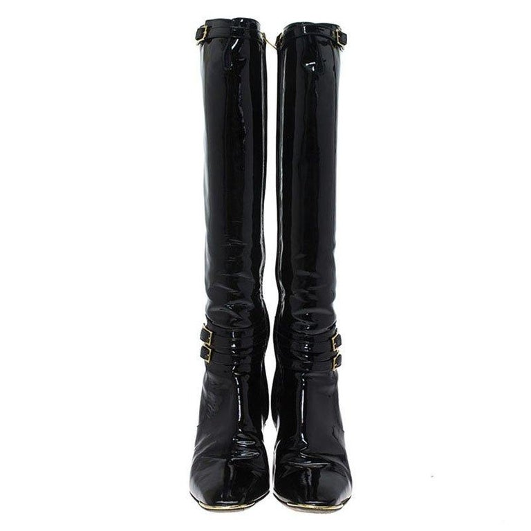 Jimmy Choo Black Patent Leather Sheila Knee Boots Size 40 In Good Condition For Sale In Dubai, Al Qouz 2