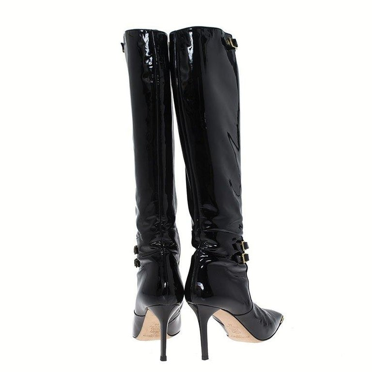 Women's Jimmy Choo Black Patent Leather Sheila Knee Boots Size 40 For Sale