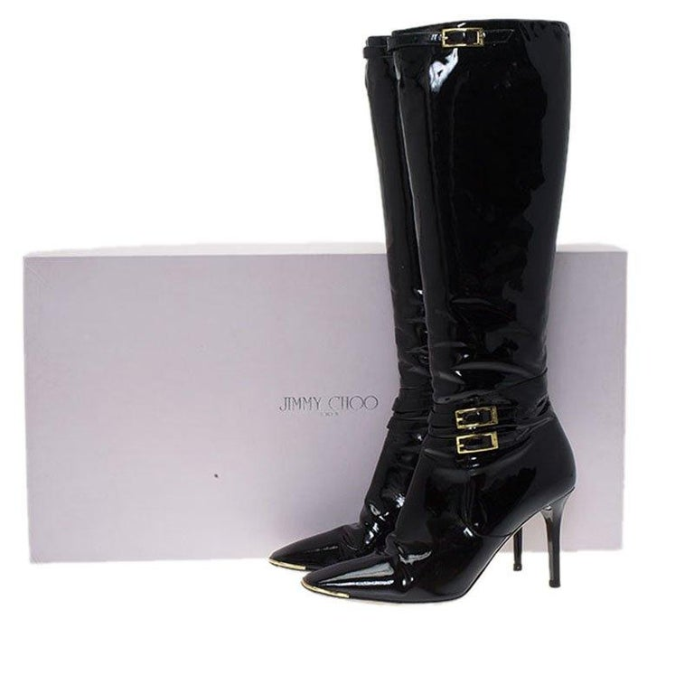 Jimmy Choo Black Patent Leather Sheila Knee Boots Size 40 For Sale 3
