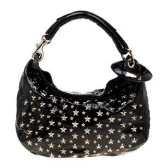 Jimmy Choo Black Patent Leather Small Star Studded Solar Hobo