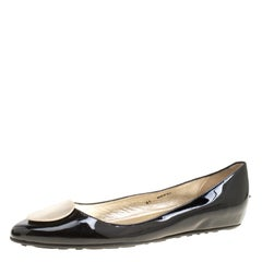Jimmy Choo Black Patent Leather Wray Flats Size 41