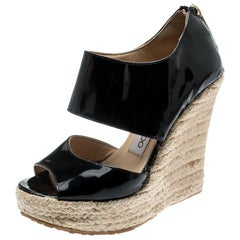 Jimmy Choo Black Patent Patriot Espadrille Wedge Sandals Size 35