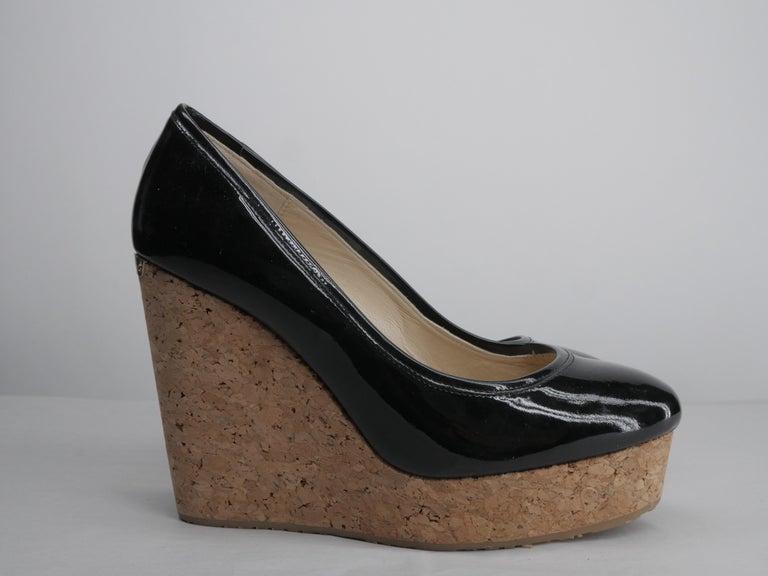 Women's or Men's Jimmy Choo Black Patent Size 40 Platform Wedge For Sale