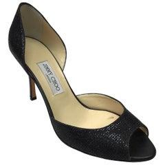 Jimmy Choo Black Peep Toe Sparkle Heels - 42