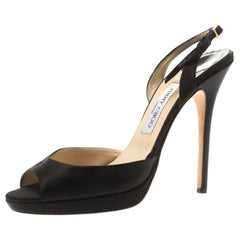 Jimmy Choo Black Satin Elazer Slingback Open Toe Sandals Size 40.5