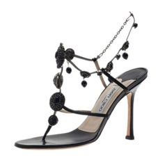 Jimmy Choo Black Satin Jeweled Sandals Size 38.5