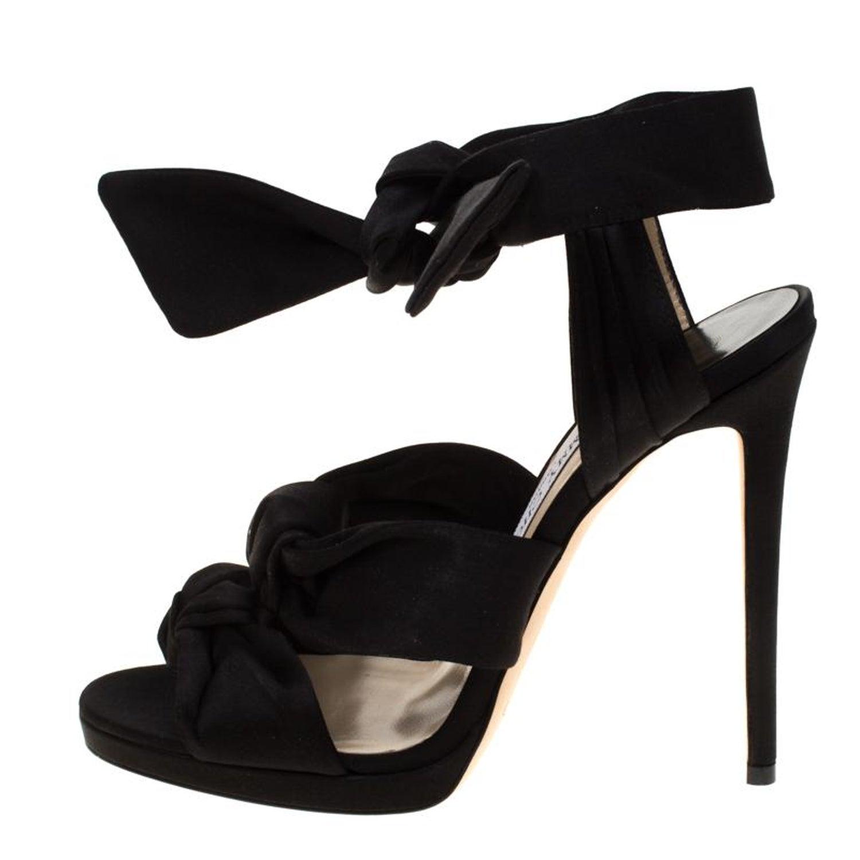 aa05280b9ec Jimmy Choo Black Satin Kris Knot Sandals Size 40 For Sale at 1stdibs
