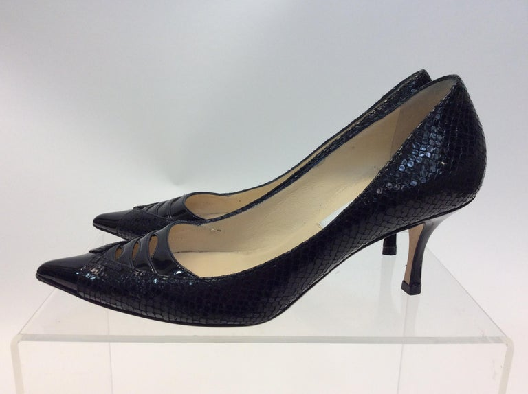 Jimmy Choo Black Skin and Patent Leather Heels $299 Made in Italy Size 36 2.5