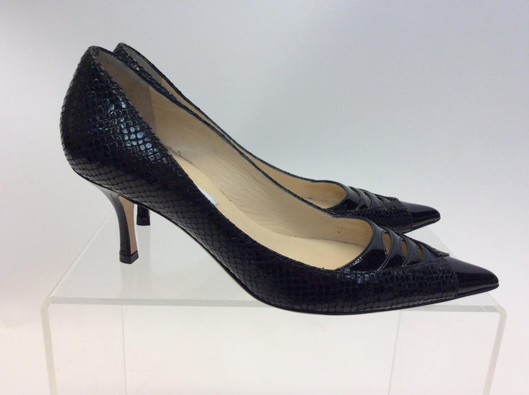 Women's Jimmy Choo Black Skin and Patent Leather Heels For Sale