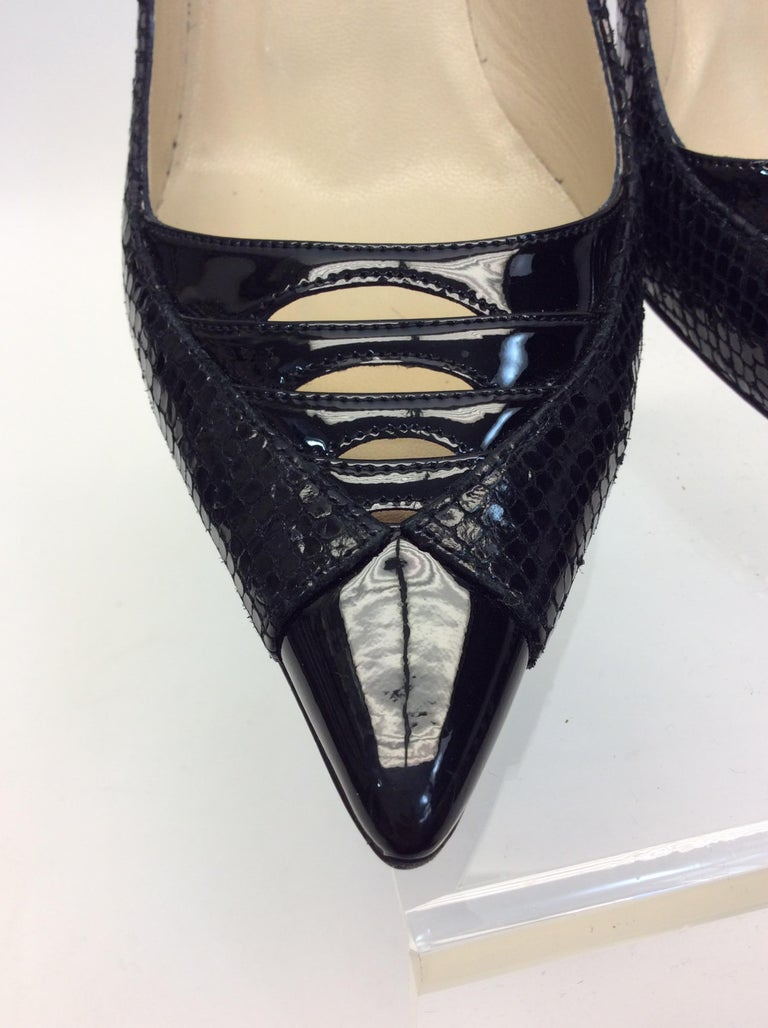 Jimmy Choo Black Skin and Patent Leather Heels For Sale 1