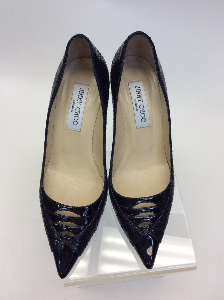 Jimmy Choo Black Skin and Patent Leather Heels For Sale 2