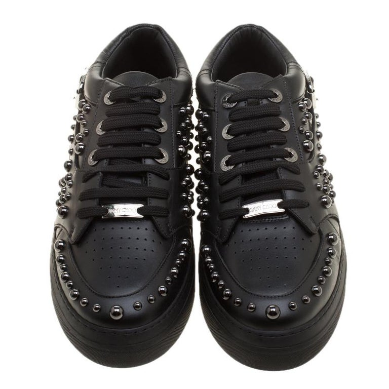 Jimmy Choo Black Studded Leather Roman Sneakers Size 42 In New Condition For Sale In Dubai, AE