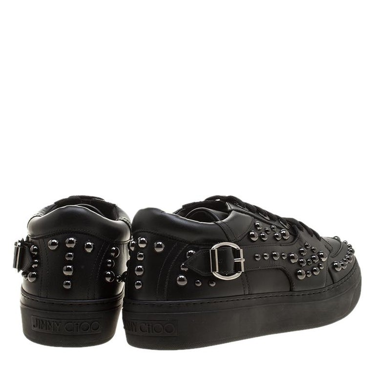 Jimmy Choo Black Studded Leather Roman Sneakers Size 42 For Sale 1