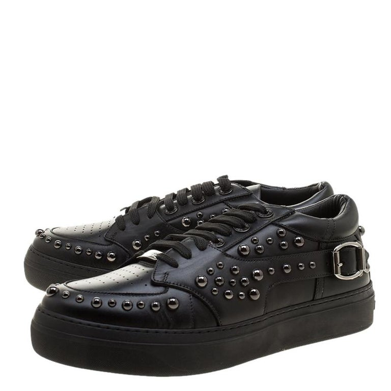 Jimmy Choo Black Studded Leather Roman Sneakers Size 42 For Sale 2