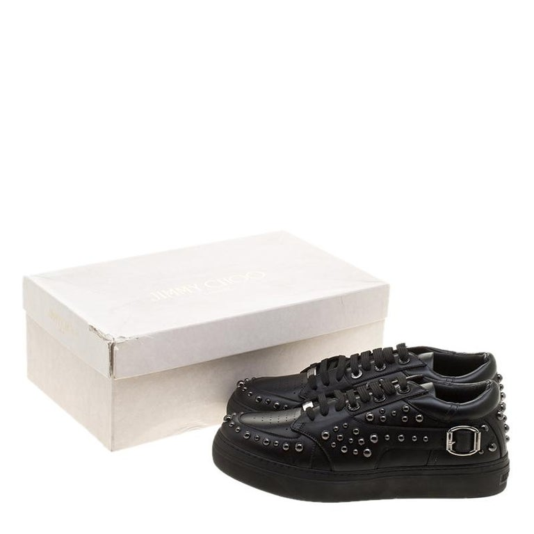 Jimmy Choo Black Studded Leather Roman Sneakers Size 42 For Sale 5