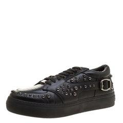 Jimmy Choo Black Studded Leather Roman Sneakers Size 42