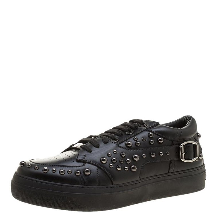 Jimmy Choo Black Studded Leather Roman Sneakers Size 42 For Sale