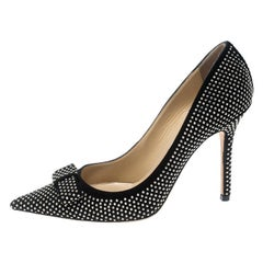Jimmy Choo Black Studded Suede Maya Pointed Toe Pumps Size 37.5