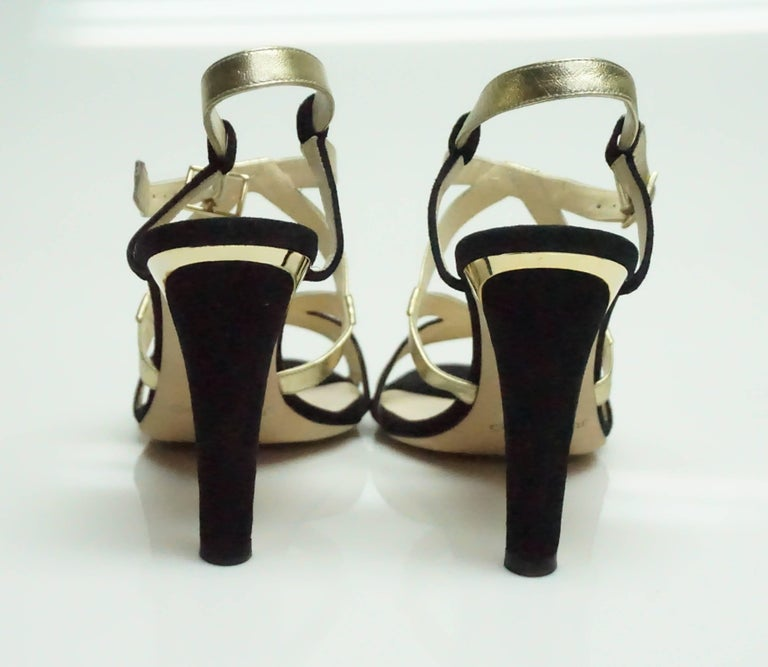 Brown Jimmy Choo Black Suede and Gold Metallic Leather Strappy Heel - 39 For Sale