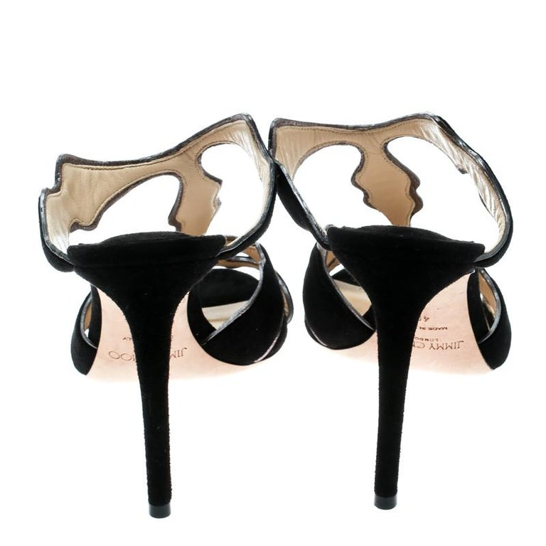 Jimmy Choo Black Suede And Leather Lanta Peep Toe Slides Size 40 In New Condition For Sale In Dubai, Al Qouz 2