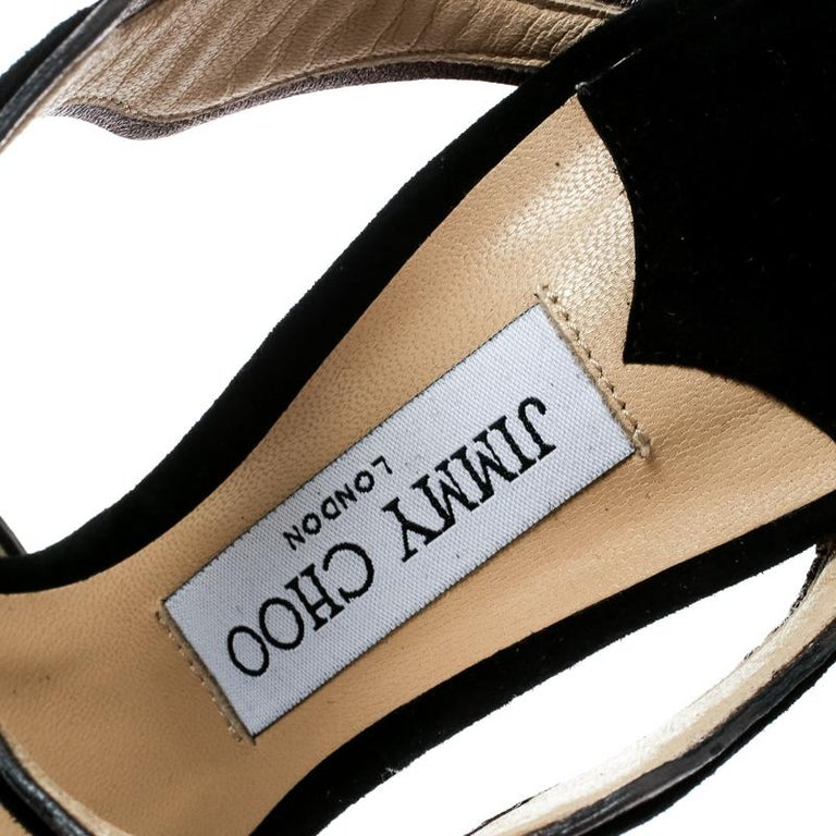 Women's Jimmy Choo Black Suede And Leather Lanta Peep Toe Slides Size 40 For Sale