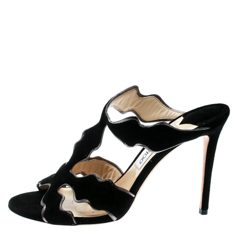 Jimmy Choo Black Suede And Leather Lanta Peep Toe Slides Size 40 For Sale 2