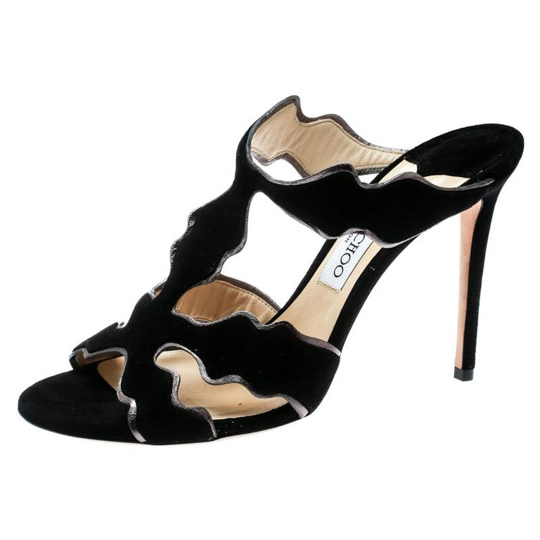 Jimmy Choo Black Suede And Leather Lanta Peep Toe Slides Size 40 For Sale