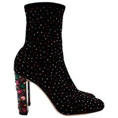Jimmy Choo Black Suede Crystal Embellished Heeled Ankle Boots - Size 39