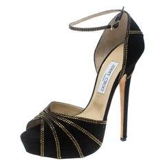 Jimmy Choo Black Suede Crystal Embellished Kalpa Ankle Strap Platform Sandals Si